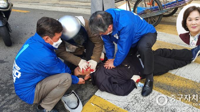 4·7선거운동 첫날 시민살린 민주당 중구 시·구의원 '화제'
